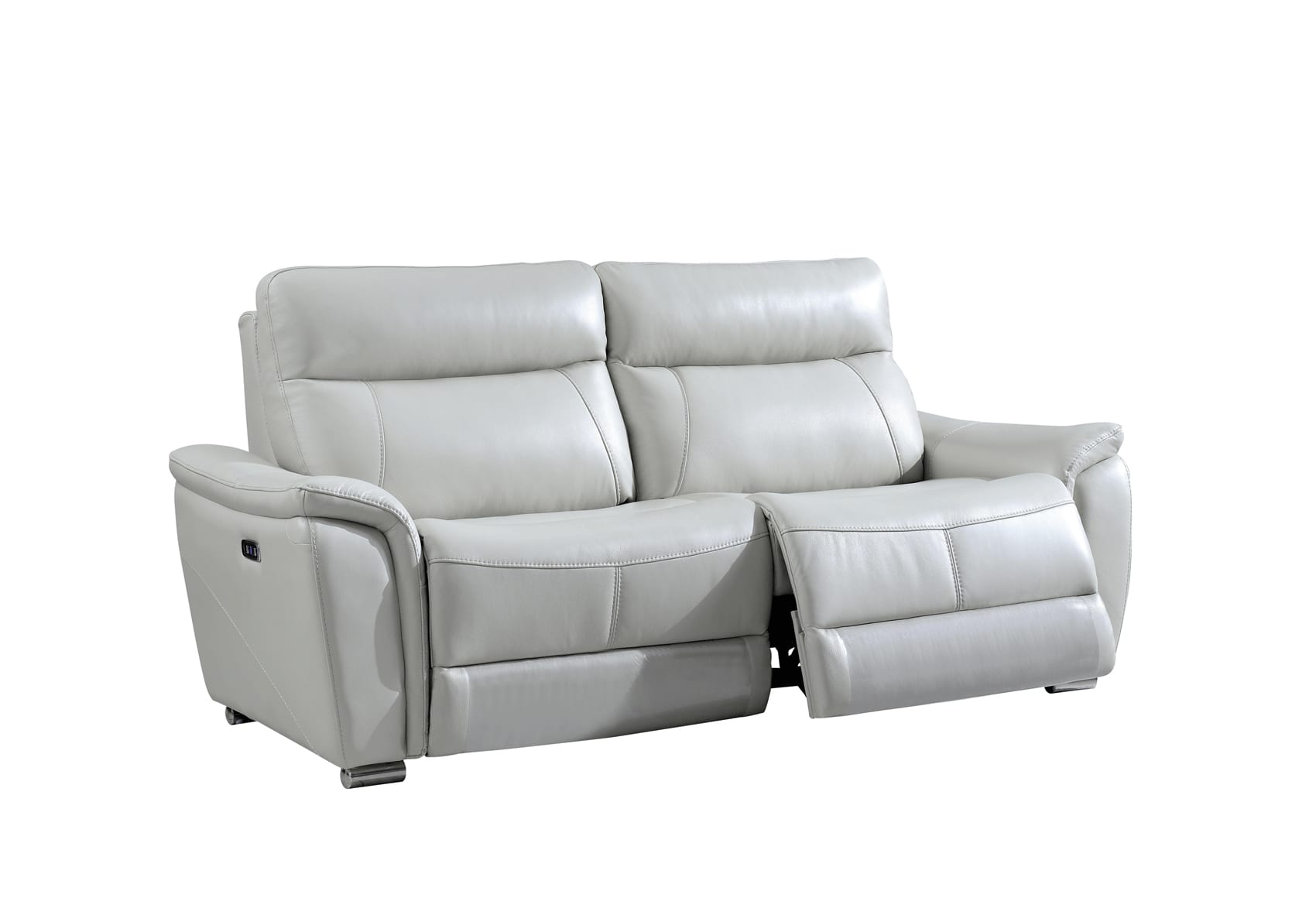 1705 Gray Leather Sofa W 2 Electric Recliners By Esf