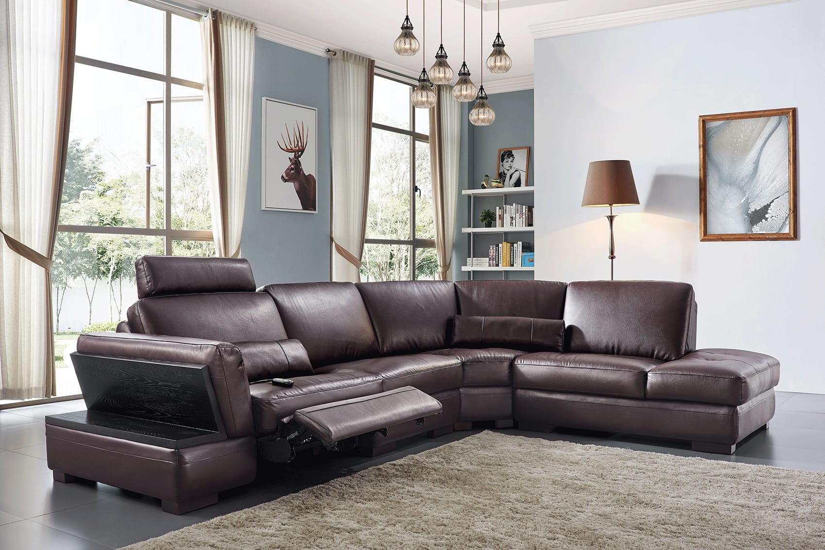 445 dark brown leather sectional w electric recliner by esf