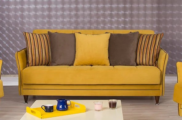 Bellina Diamond Mustard Convertible Sofa Bed By Casamode
