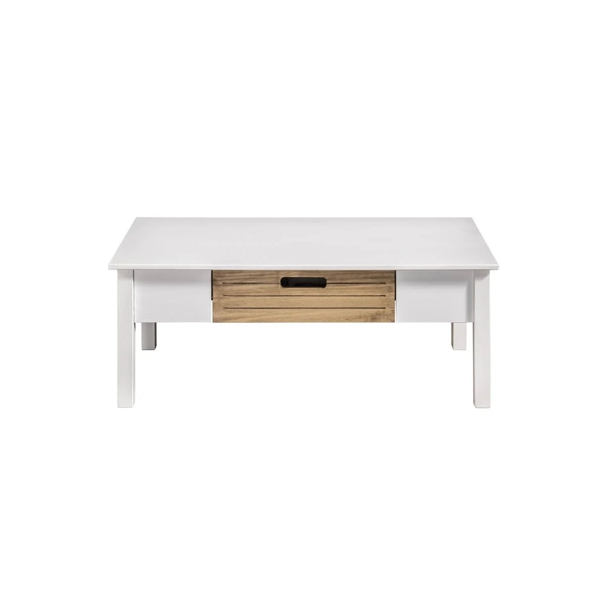 Irving Rustic Mid Century Modern White Natural Wood Coffee Table By Manhattan Comfort