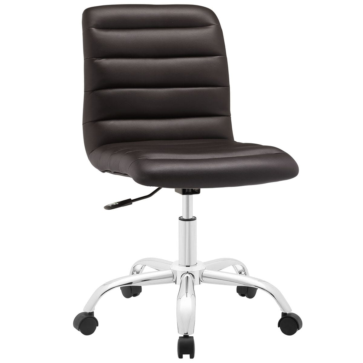 Ripple Armless Mid Back Vinyl Office Chair Brown By Modern Living