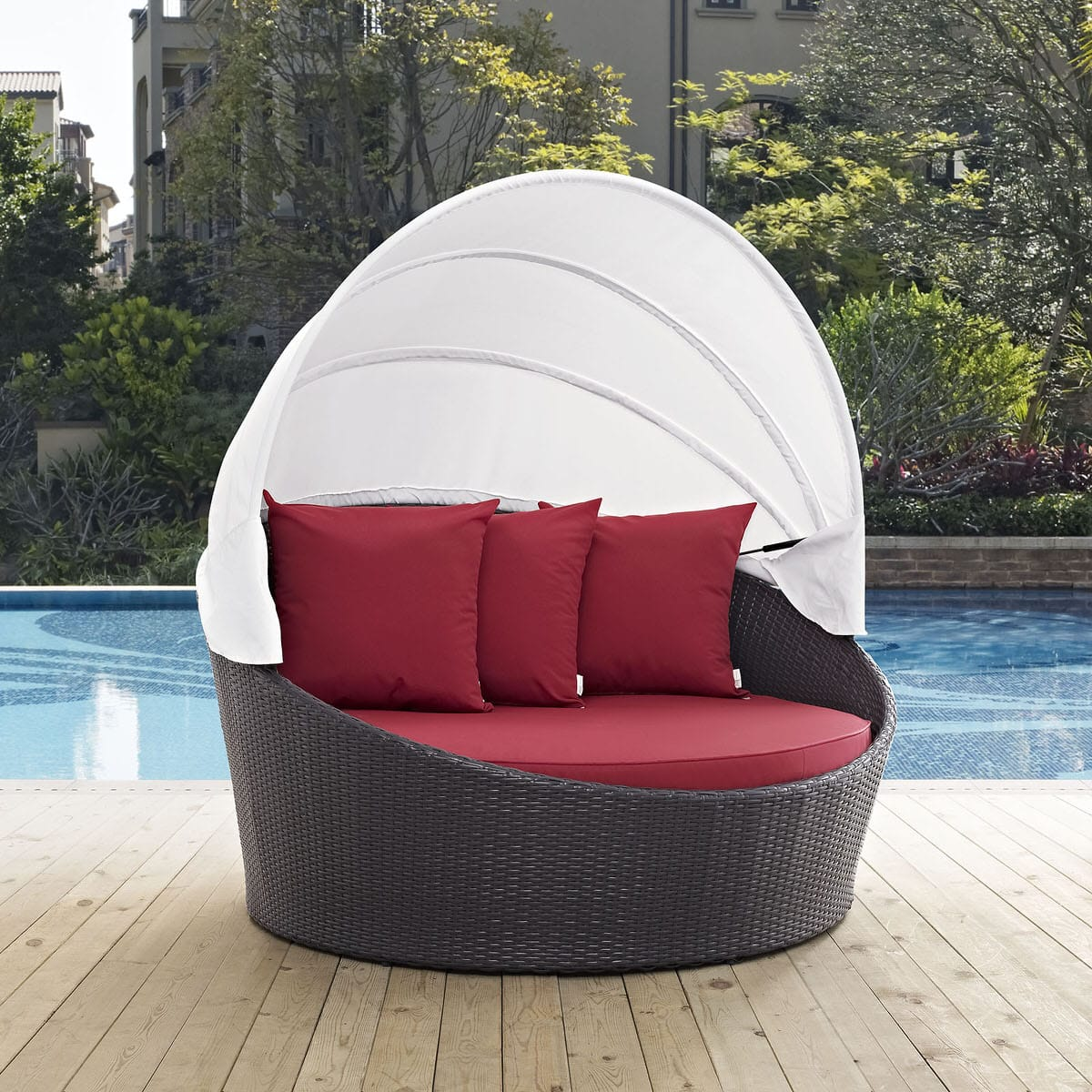 convene canopy outdoor patio daybed espresso red by modern living