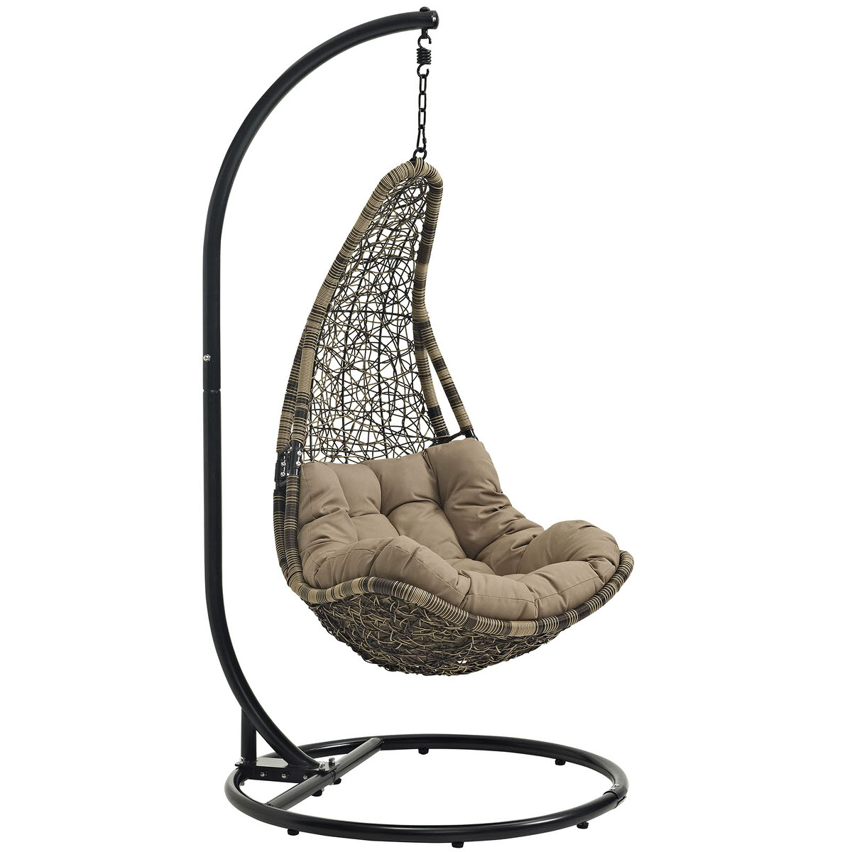 Abate Outdoor Patio Swing Chair With Stand Black Mocha By Modern Living