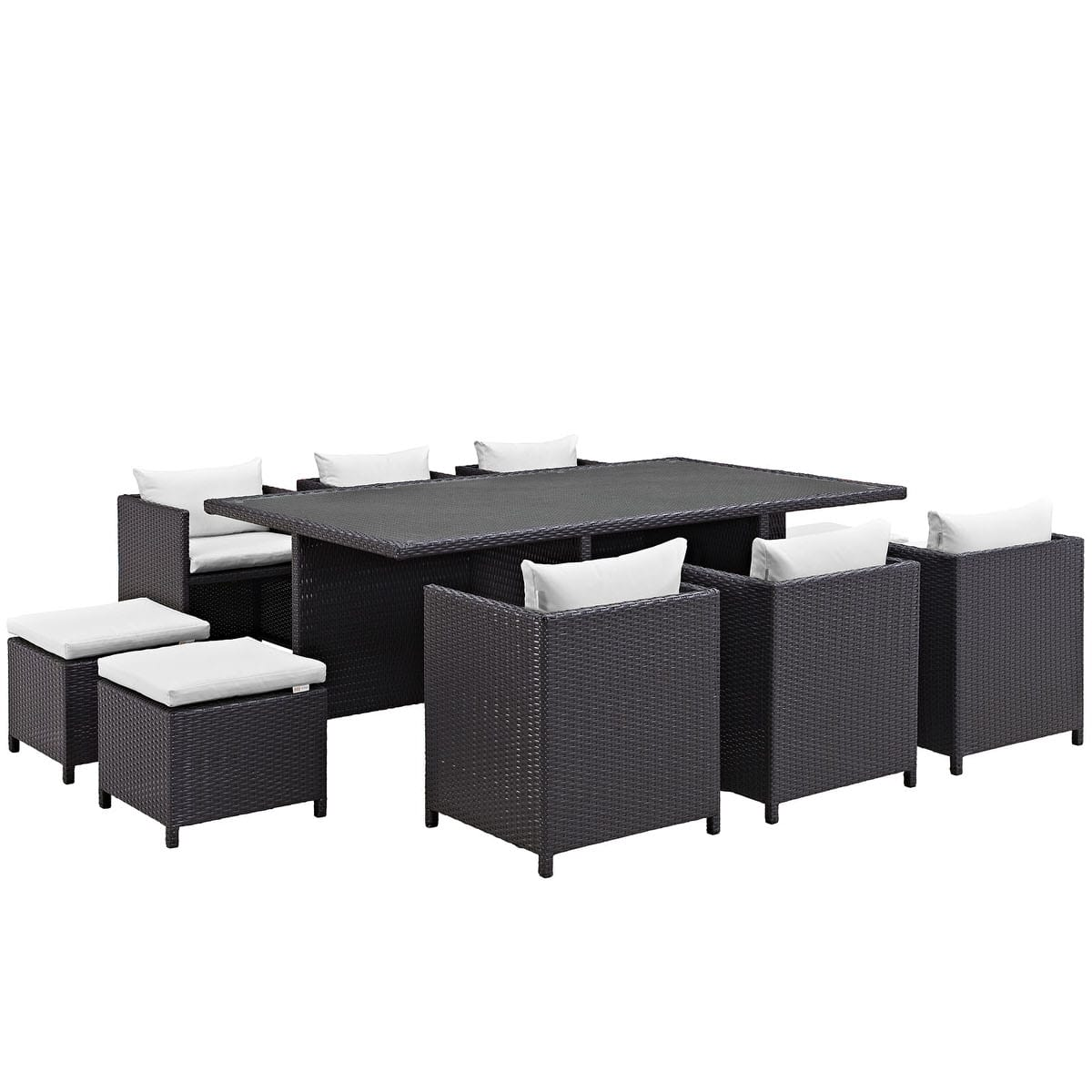 reversal 11 piece outdoor patio dining set espresso white by modern living