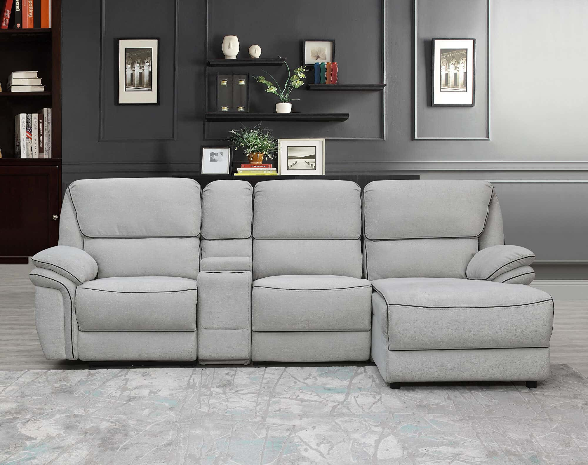 u141 power reclining light gray 4pc sectional sofa by global furniture