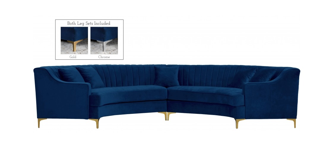 jackson navy blue velvet two piece sectional sofa by meridian furniture