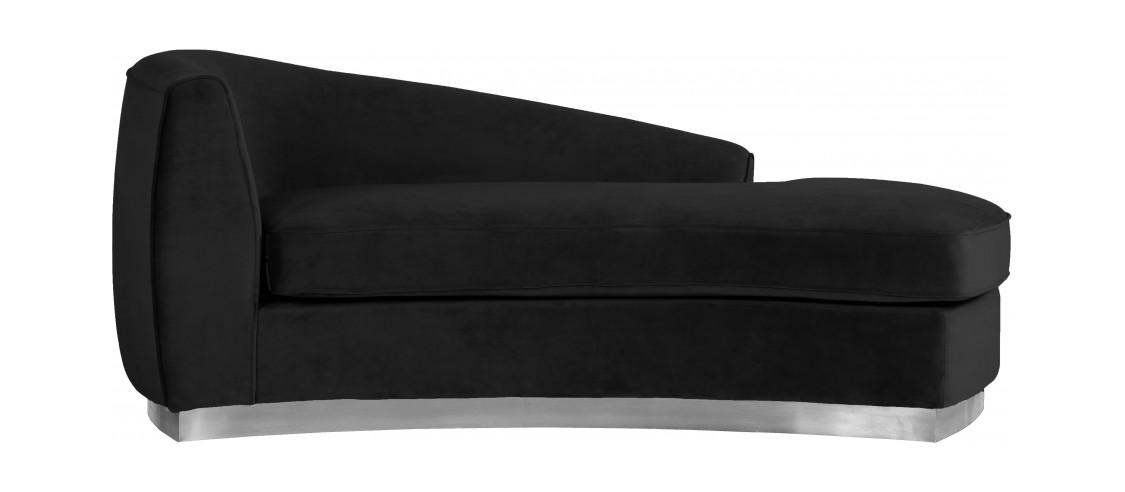julian black chrome velvet chaise lounge by meridian furniture