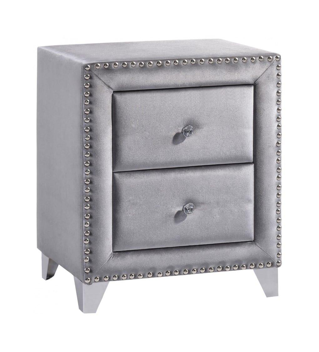 Sophie Grey Velvet Nightstand By Meridian Furniture
