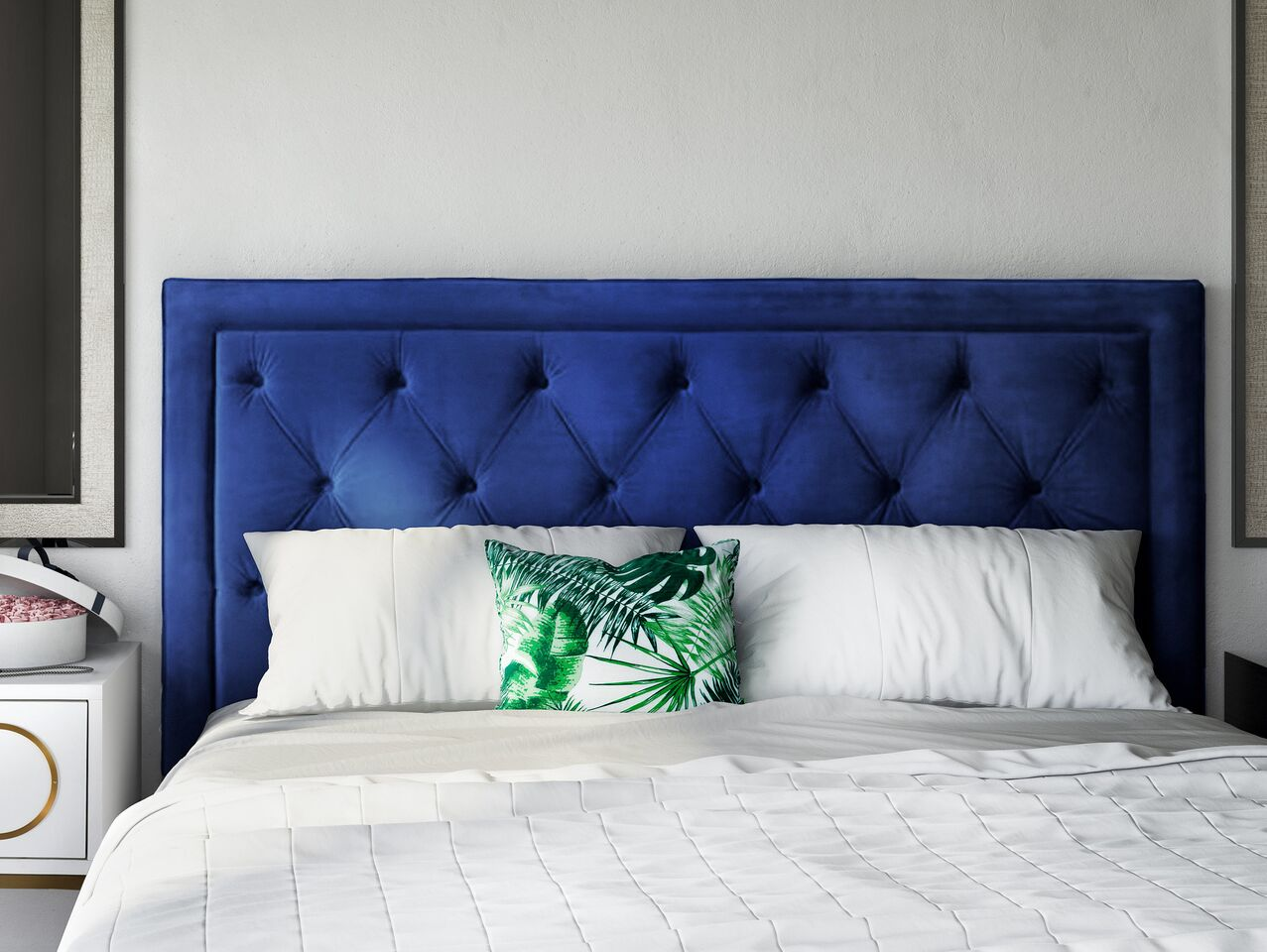 Nacht Navy Blue Velvet King Headboard By Tov Furniture