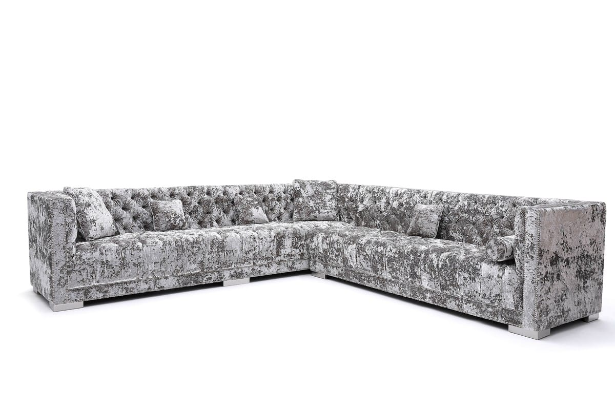 divani casa fredrick modern grey crushed velvet sectional sofa by vig furniture