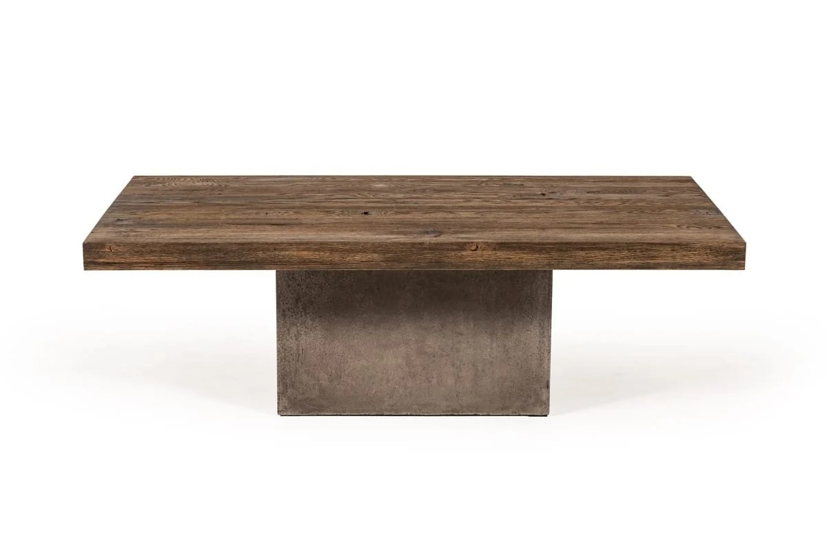 modrest renzo modern oak concrete coffee table by vig furniture