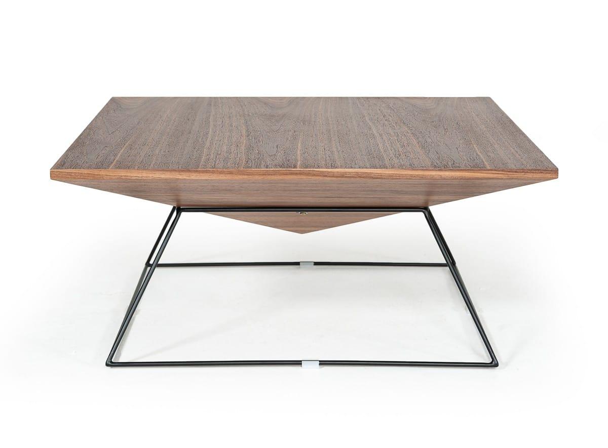 modrest gabriel modern square walnut coffee table by vig furniture
