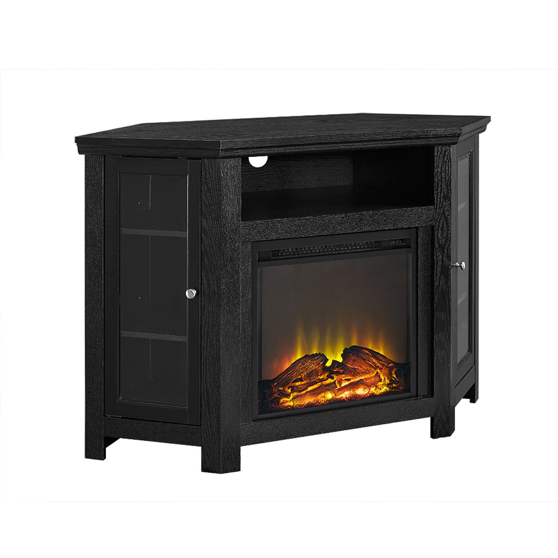 Jackson 48 Inch Corner Fireplace TV Stand Black By Walker Edison