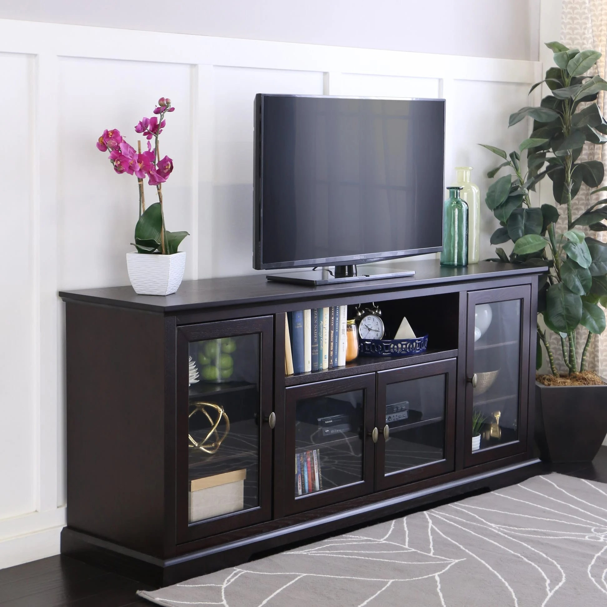 70 Inch Highboy Style Wood TV Stand Espresso By Walker