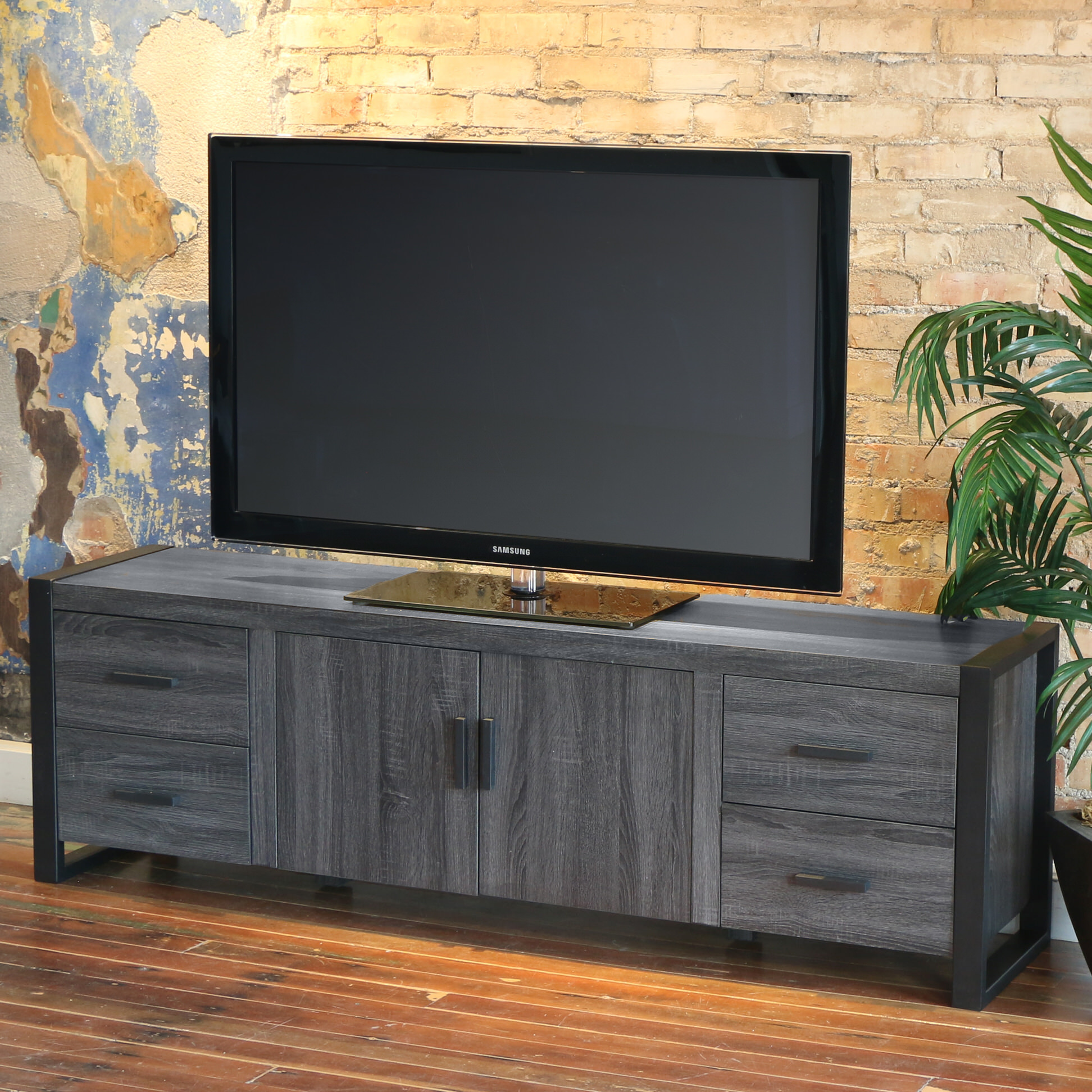 Urban Blend 70 Inch TV Stand CharcoalBlack By Walker Edison
