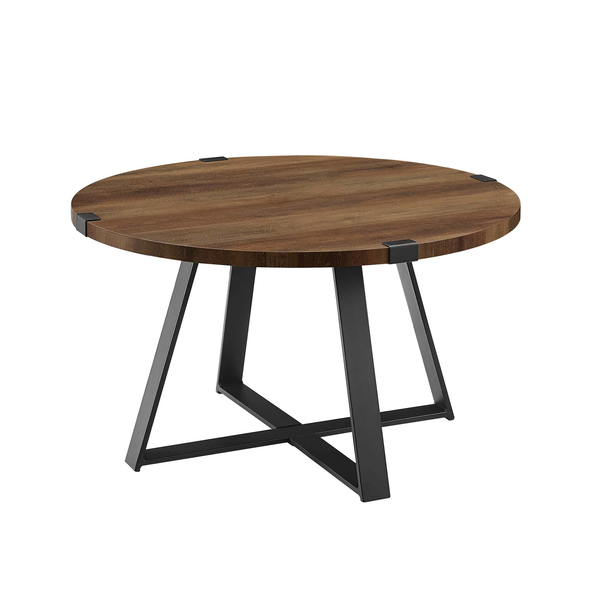 rustic round coffee table rustic oak black by walker edison