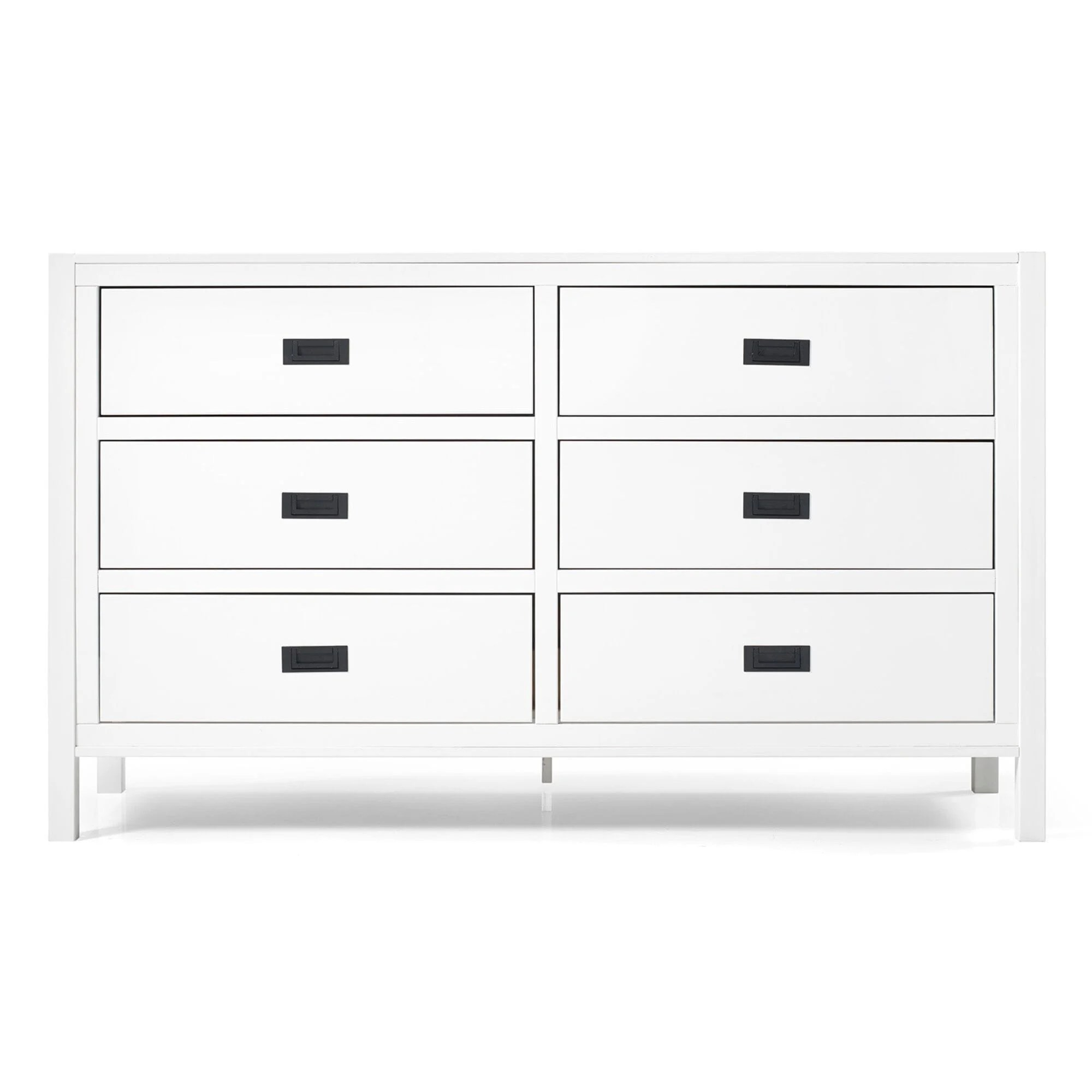 57 inch classic solid wood 6 drawer dresser white by walker edison