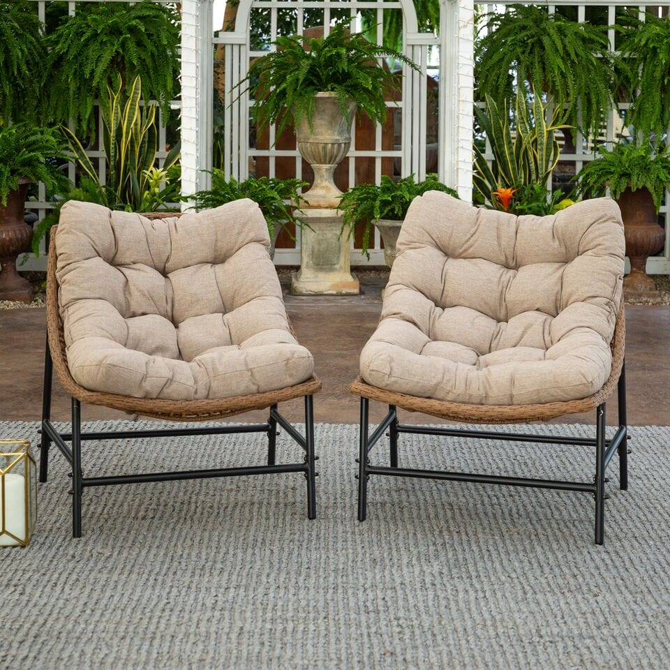 papasan scoop outdoor patio chairs set of 2 natural by walker edison