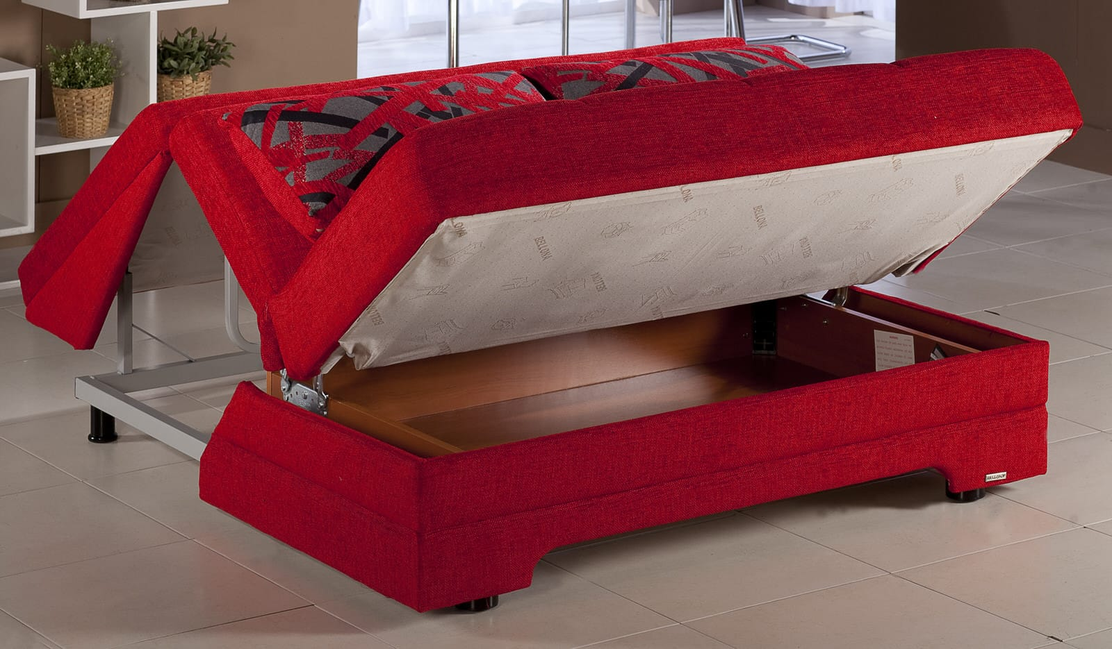Twist Story Red Loveseat Sleeper By Istikbal Sunset