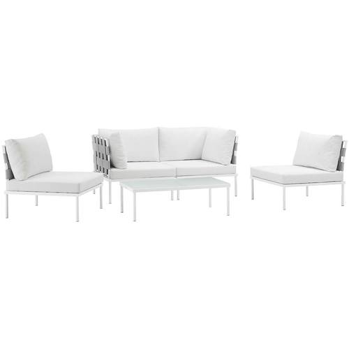 Harmony 5 Piece Outdoor Patio Aluminum Sectional Sofa Set White     Harmony 5 Piece Outdoor Patio Aluminum Sectional Sofa Set White White
