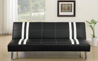 Adjustable Sofa – Black/White Stripe Faux Leather