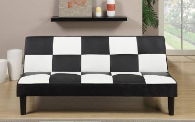 Adjustable Sofa – Black/White Faux Leather