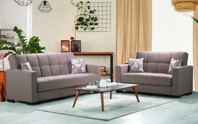 Armada Futon Sofa & Loveseat Brown Fabric