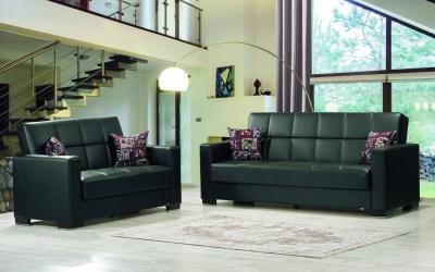 Armada Futon Sofa & Loveseat Black Leatherette