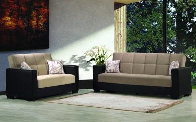 Armada Futon Sofa & Loveseat Black Leatherette Sand Microfiber