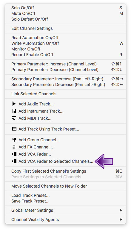 Add VCA Fader to Selected Channels no Cubase
