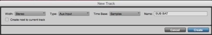 O diálogo New Track para criar a faixa auxiliar
