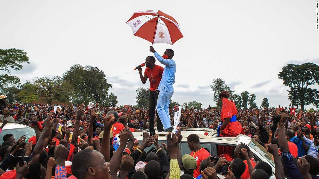 Ugandan presidential aspirant, Bobi Wine campaigned in Luuka, Uganda on November 18th before his arrest. Image source: STRINGER/AFP via Getty Images