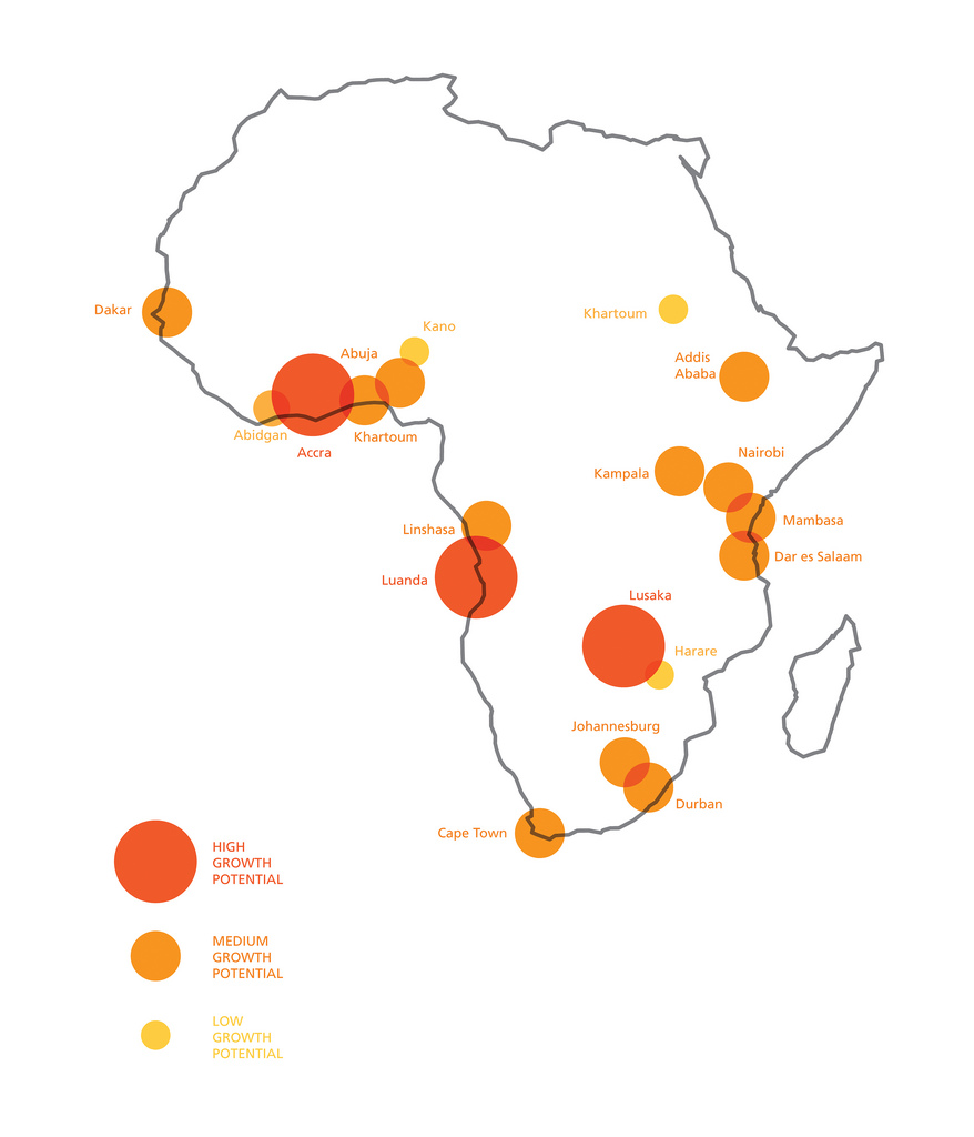 Accra, Lusaka and Luanda, the capital cities of Ghana, Zambia and Angola respectively, have been identified as the Sub-Saharan African cities that have the highest potential for growth over the next five years, according to the MasterCard African Cities Growth Index.