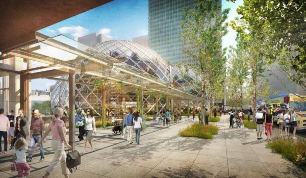 """A rendering of Amazon's proposed development of the South Lake Union neighbourhood, including the """"biodomes."""""""