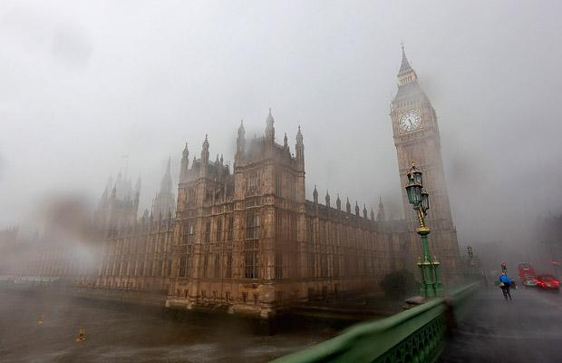 The Houses of Parliament suffered from floods as heavy storms hit central London. Picture: GETTY