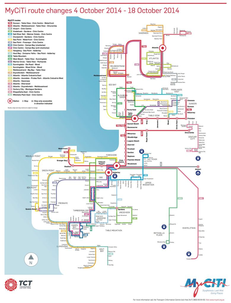 The MyCiTi system from 4 to 18 October. Click for a larger image.