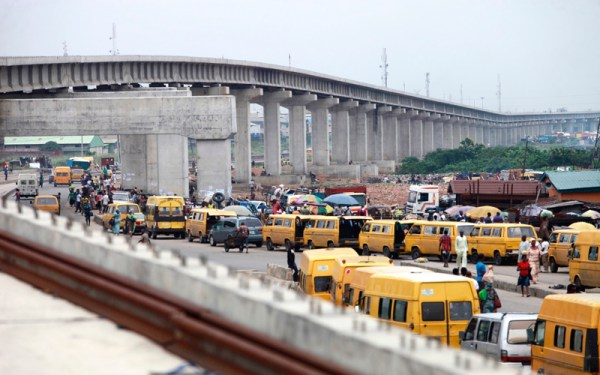 A light rail track is seen under construction as it stretches through the Orile-Iganmu district of Lagos