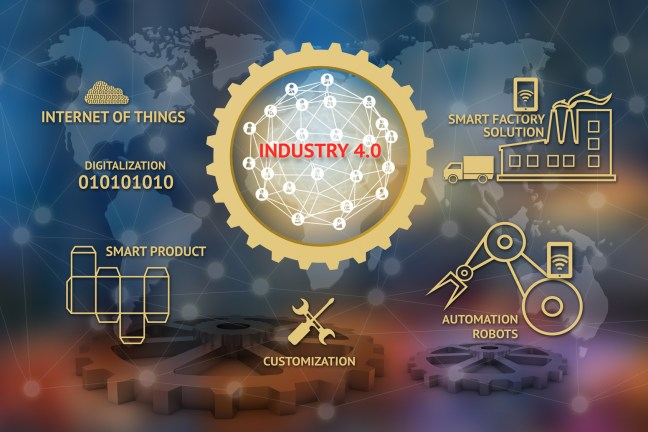 Industrial 4.0 concept , Gears , Internet of thins network , smart factory solution , Manufacturing technology , automation robot, digitalization icon with abstract binary background