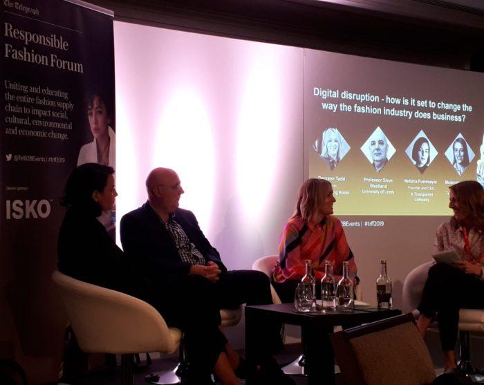 Professor Stephen Westland, Deryane Tadd and Neliana Fuenmayor at the Telegraph Responsible Fashion Forum 2019