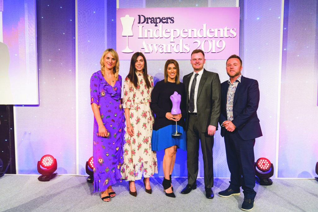 Sonya and Liam receiving the Emerging Brand of the Year Award at Drapers Independent Awards 2019