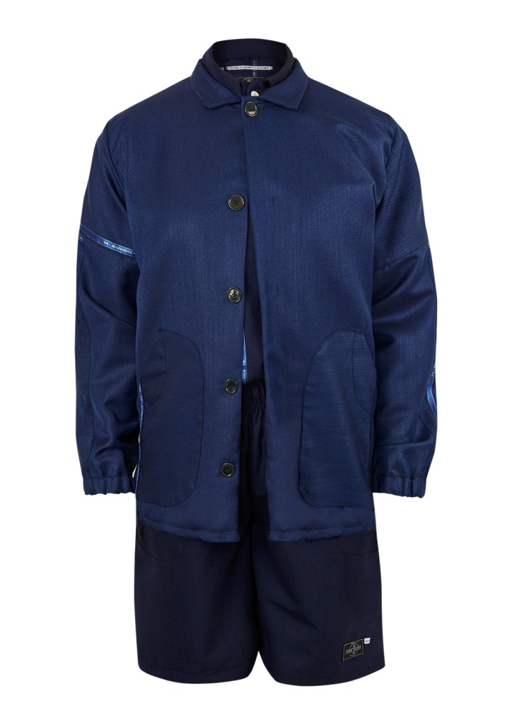 A jacket, shirt and shorts outfit in blue lightweight wool by Danielle Elsener