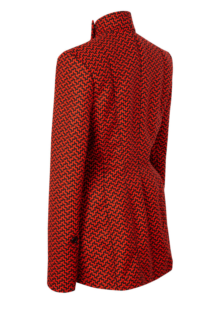 Back of tailored ladies' jacket in red and black AW Hainsworth Merino wool