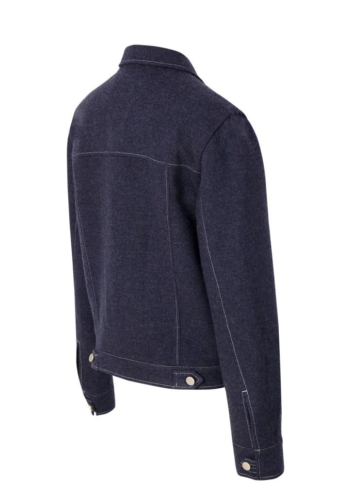 Back view of denim-style jacket in indigo lambswool