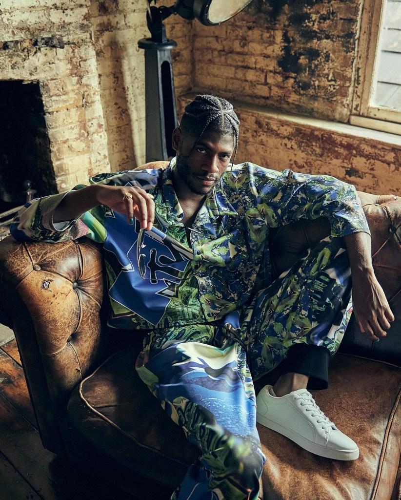 Men's blue and green patterned shirt and trousers by Rebecca Cox for the MTV Music Meets Fashion competition