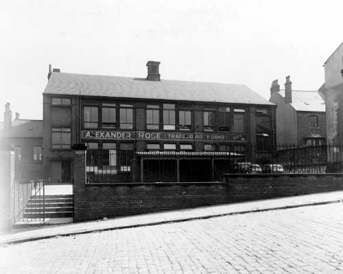 Black and white image of the Alexander Rose factory in Leeds from 1951