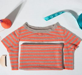 Deconstructed cashmere t-shirt and mending equipment