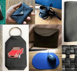 Collage of leather coin purse, handbag, keyring, pocketbook, mousemat, weaving
