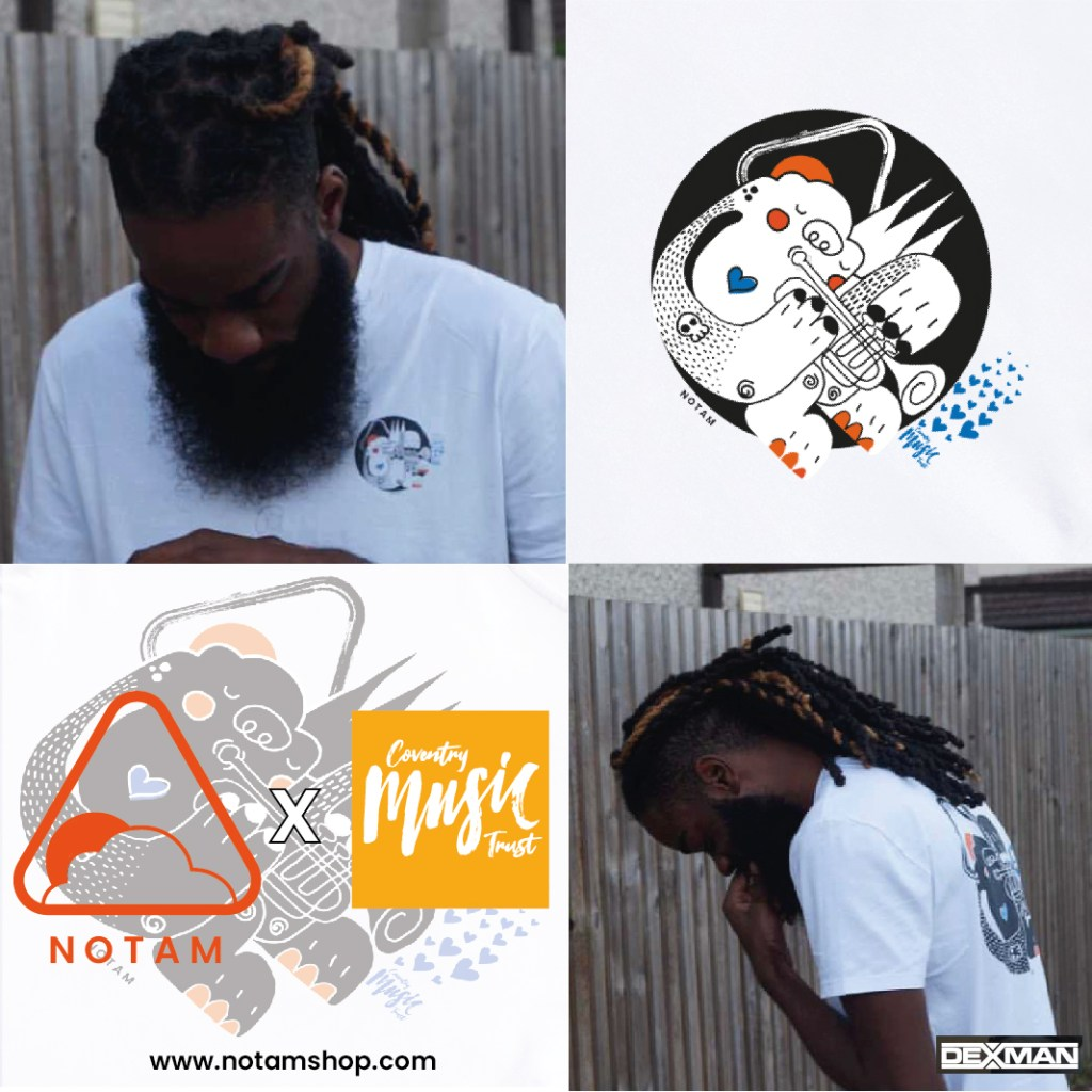 Rapper DexMan wears a white Notam t-shirt with hand-drawn motif of a cartoon animal blowing a trumpet
