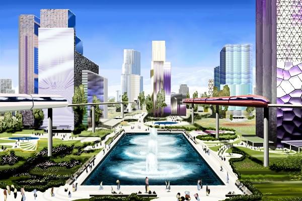 drawing of futuristic city