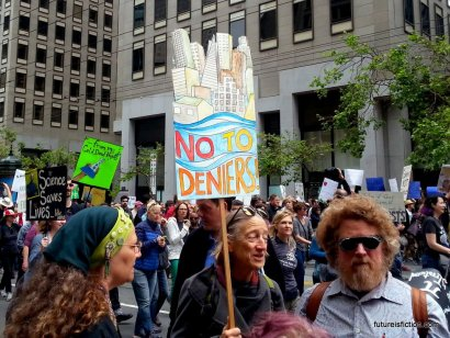 Nicely drawn protest sign against climate deniers